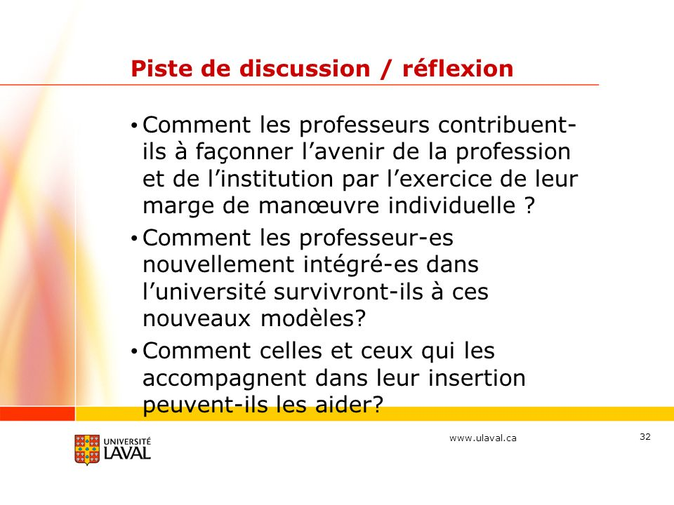 Piste de discussion / réflexion