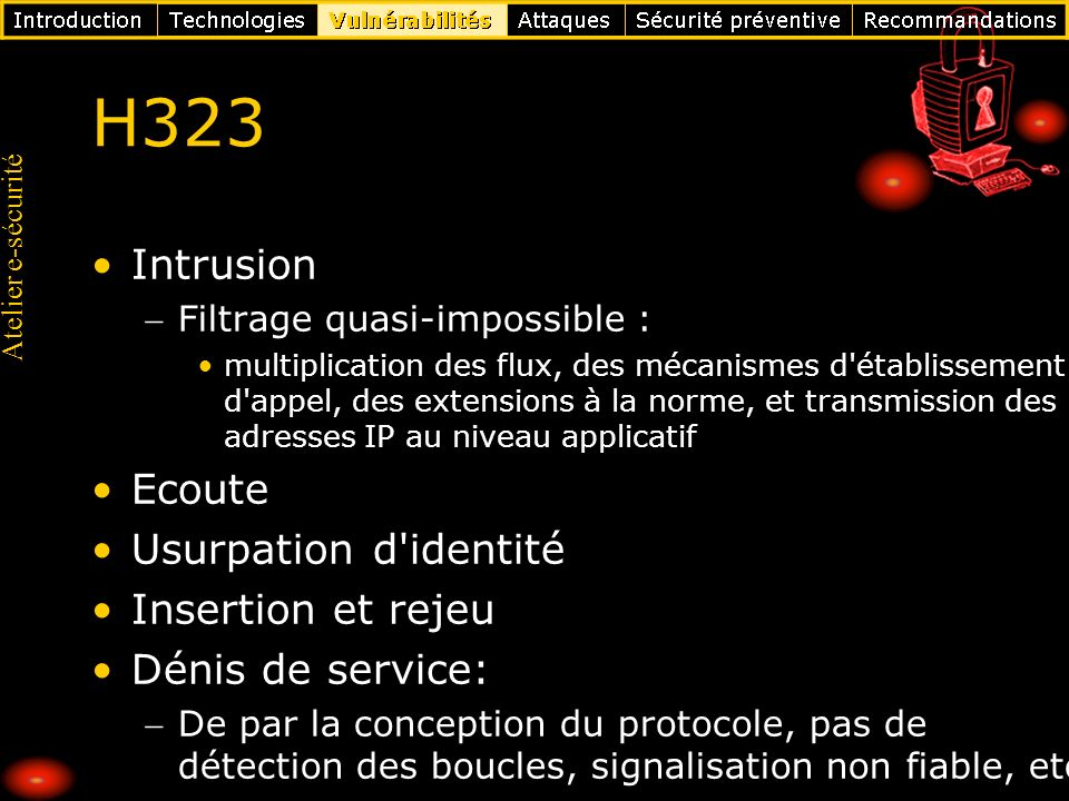 H323 Intrusion Ecoute Usurpation d identité Insertion et rejeu