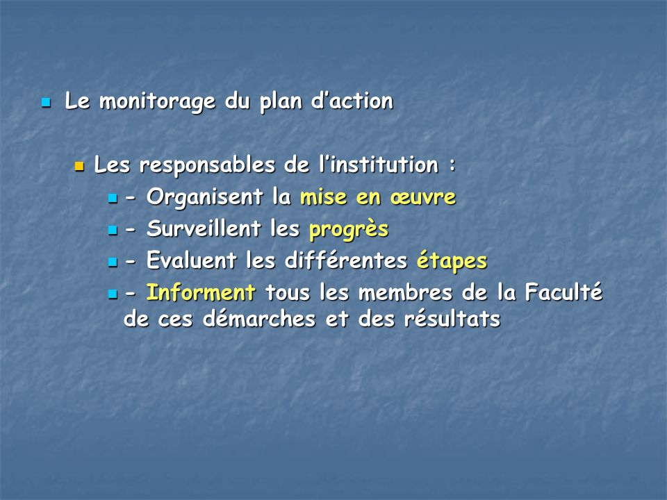 Le monitorage du plan d'action