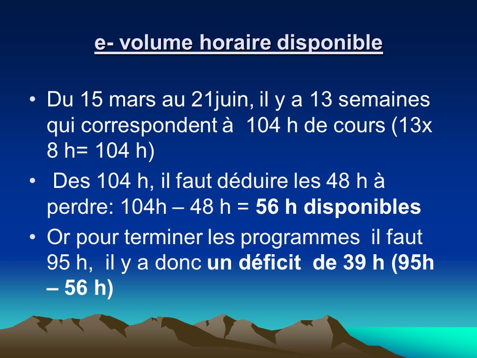 e- volume horaire disponible