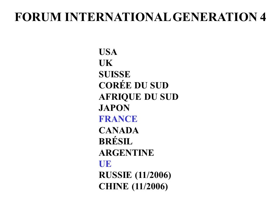 FORUM INTERNATIONAL GENERATION 4