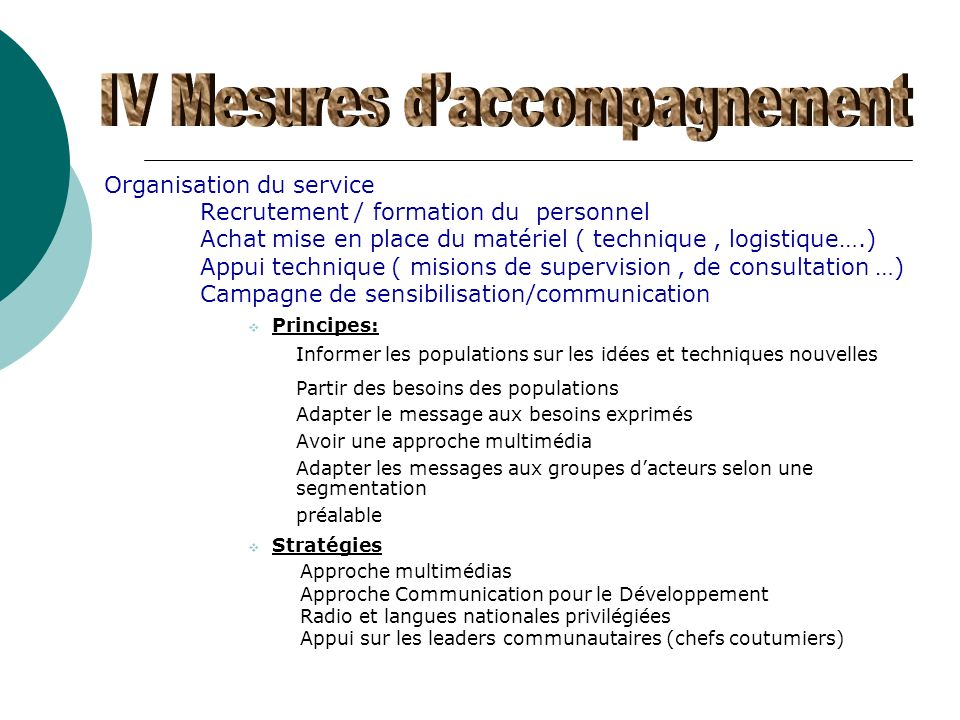 IV Mesures d'accompagnement