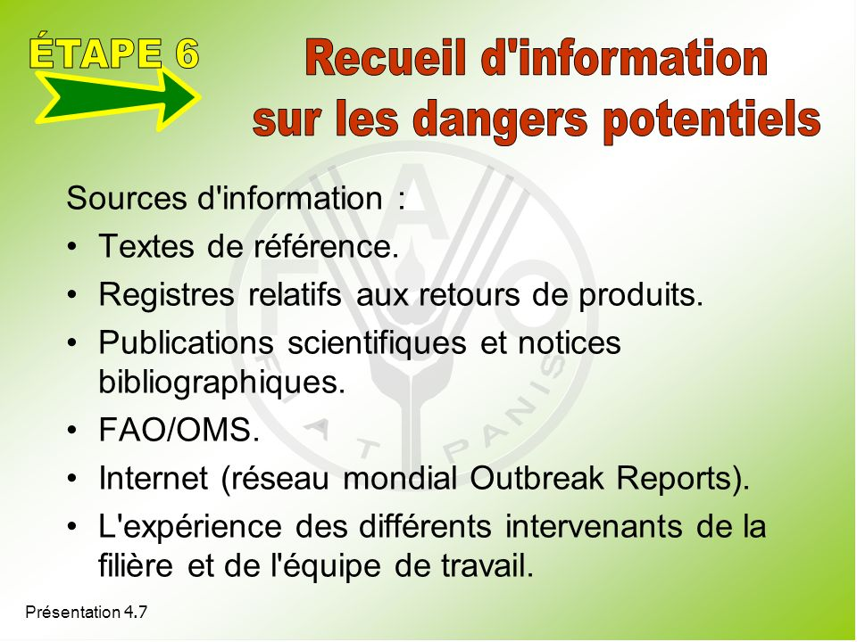 sur les dangers potentiels
