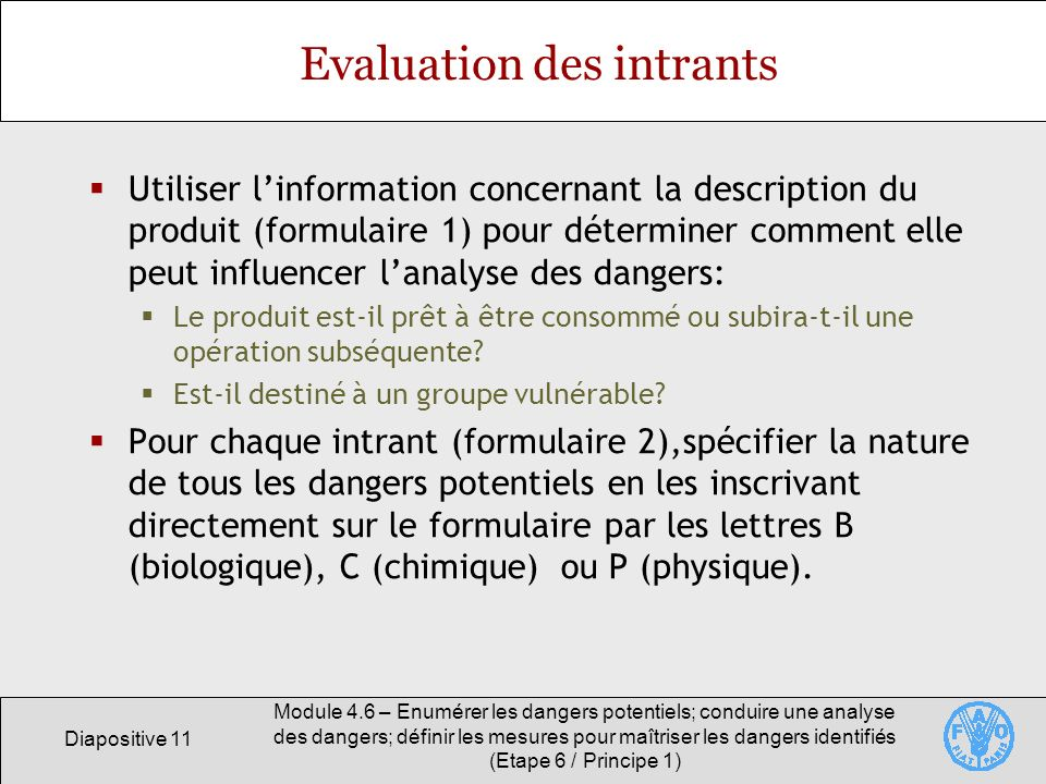 Evaluation des intrants
