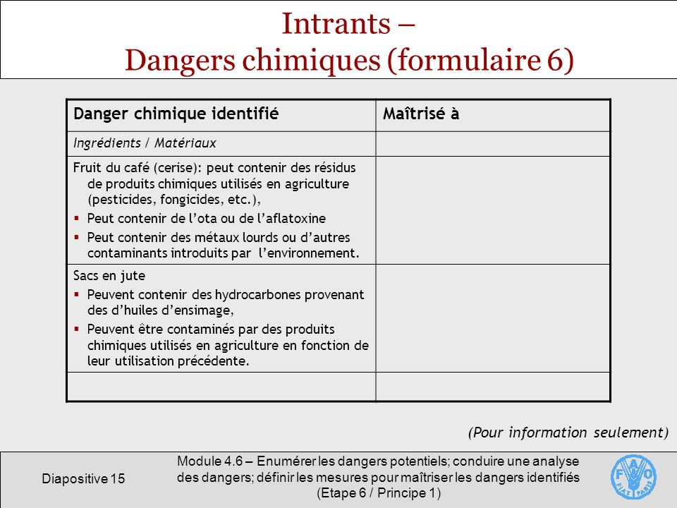 Intrants – Dangers chimiques (formulaire 6)