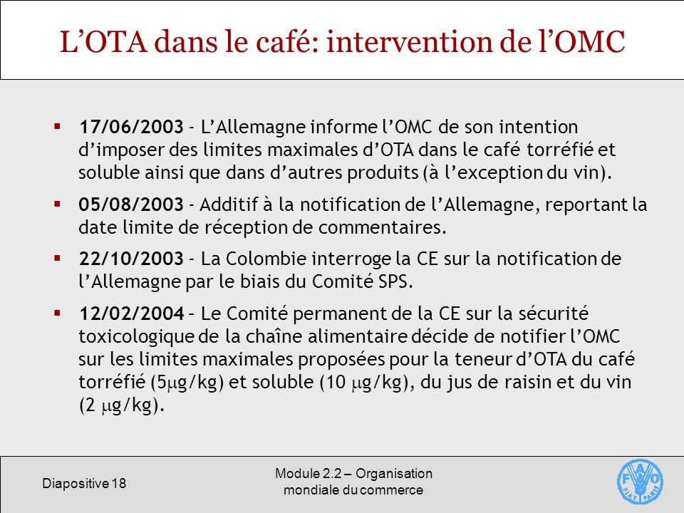 L'OTA dans le café: intervention de l'OMC