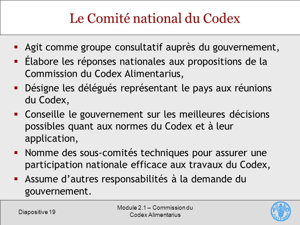 Le Comité national du Codex
