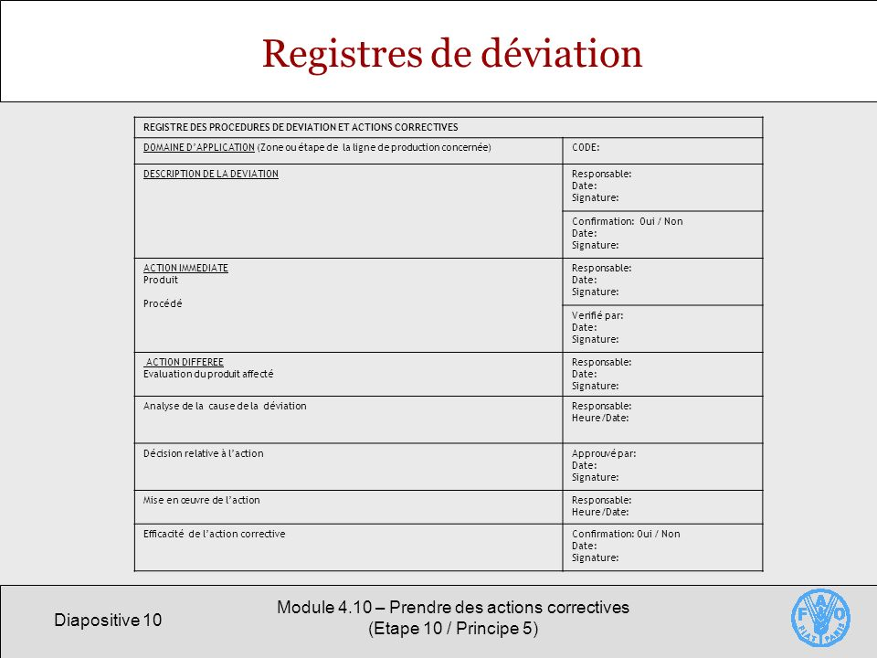 Registres de déviation