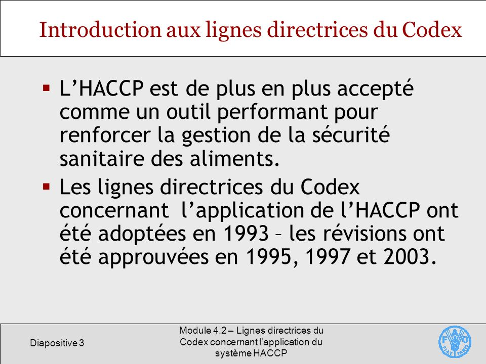 Introduction aux lignes directrices du Codex