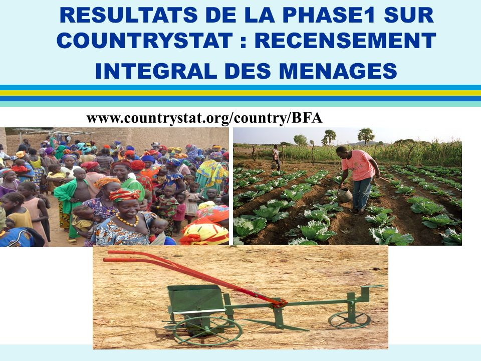 RESULTATS DE LA PHASE1 SUR COUNTRYSTAT : RECENSEMENT INTEGRAL DES MENAGES