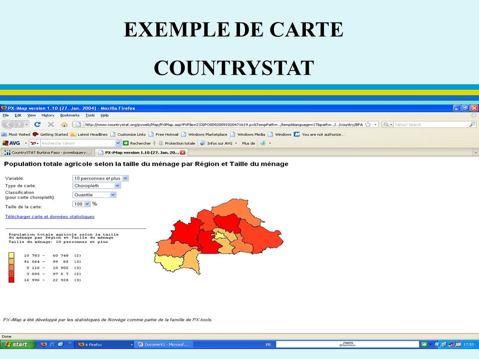 EXEMPLE DE CARTE COUNTRYSTAT