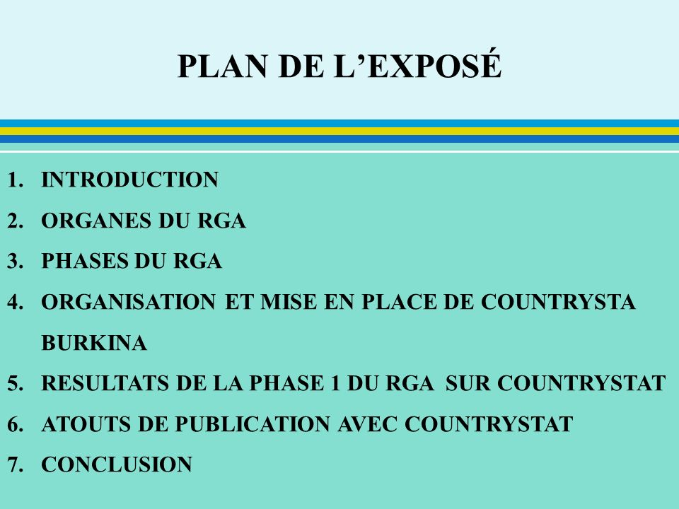 PLAN DE L'EXPOSÉ INTRODUCTION ORGANES DU RGA PHASES DU RGA