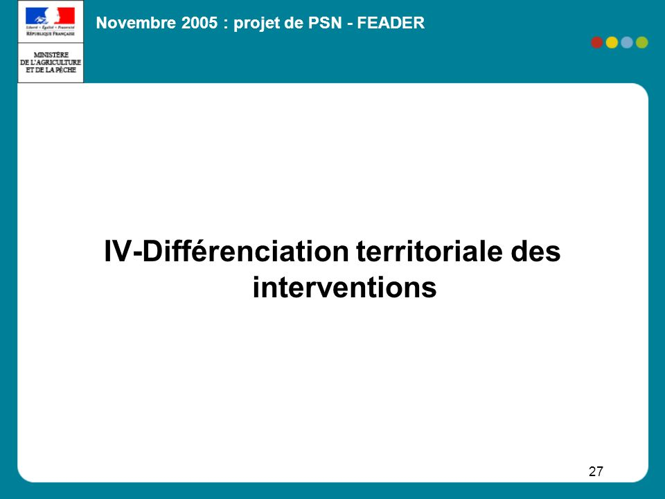 IV-Différenciation territoriale des interventions