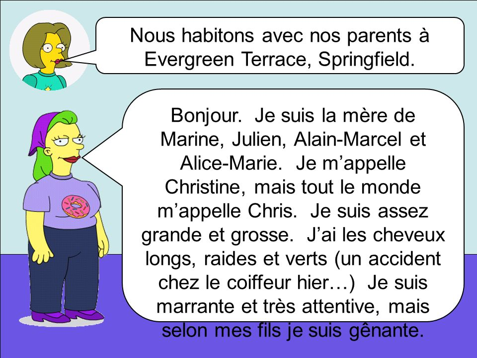 Nous habitons avec nos parents à Evergreen Terrace, Springfield.