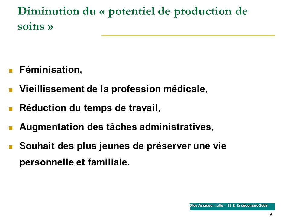 Diminution du « potentiel de production de soins »