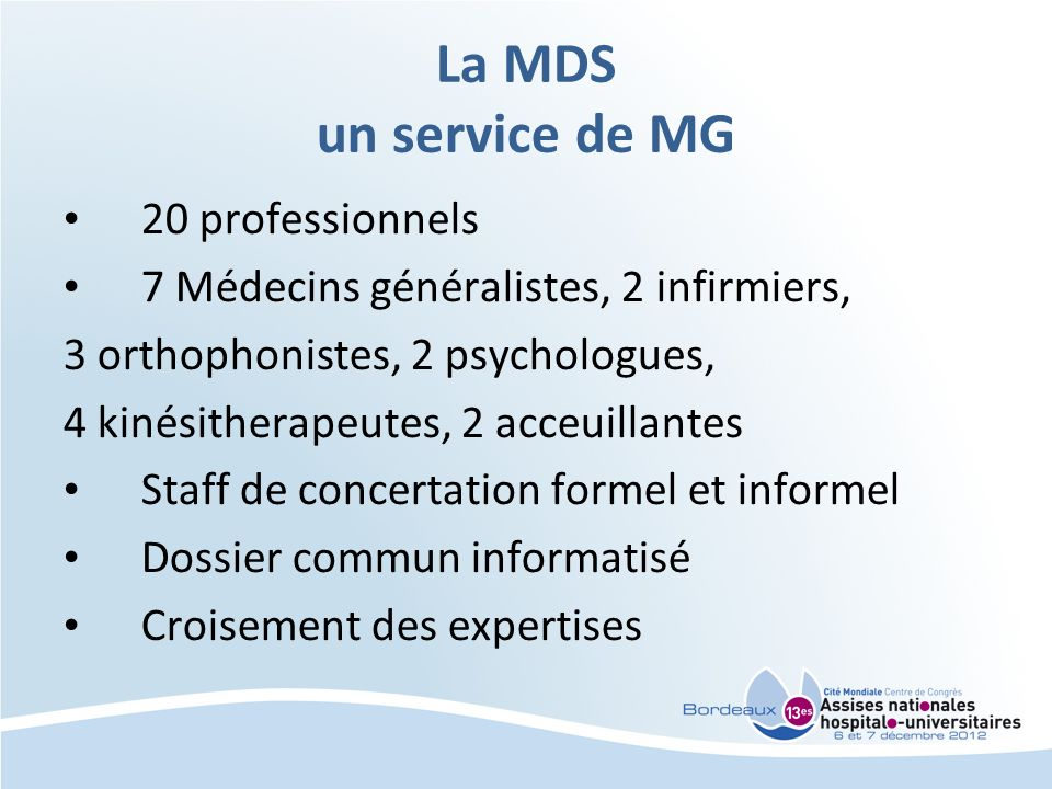 La MDS un service de MG 20 professionnels