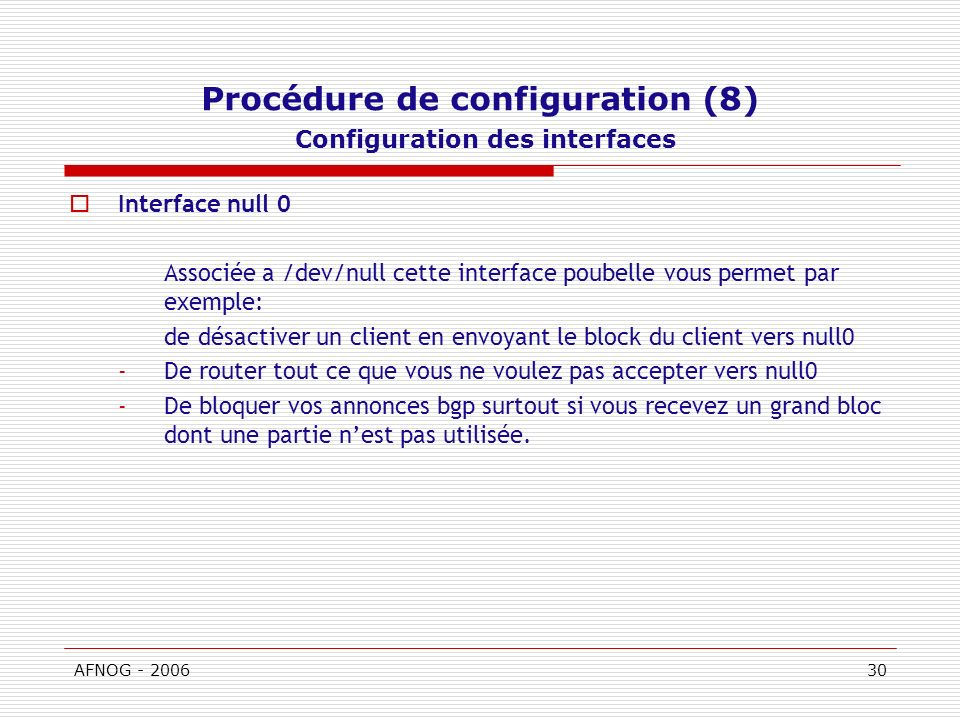 Procédure de configuration (8) Configuration des interfaces
