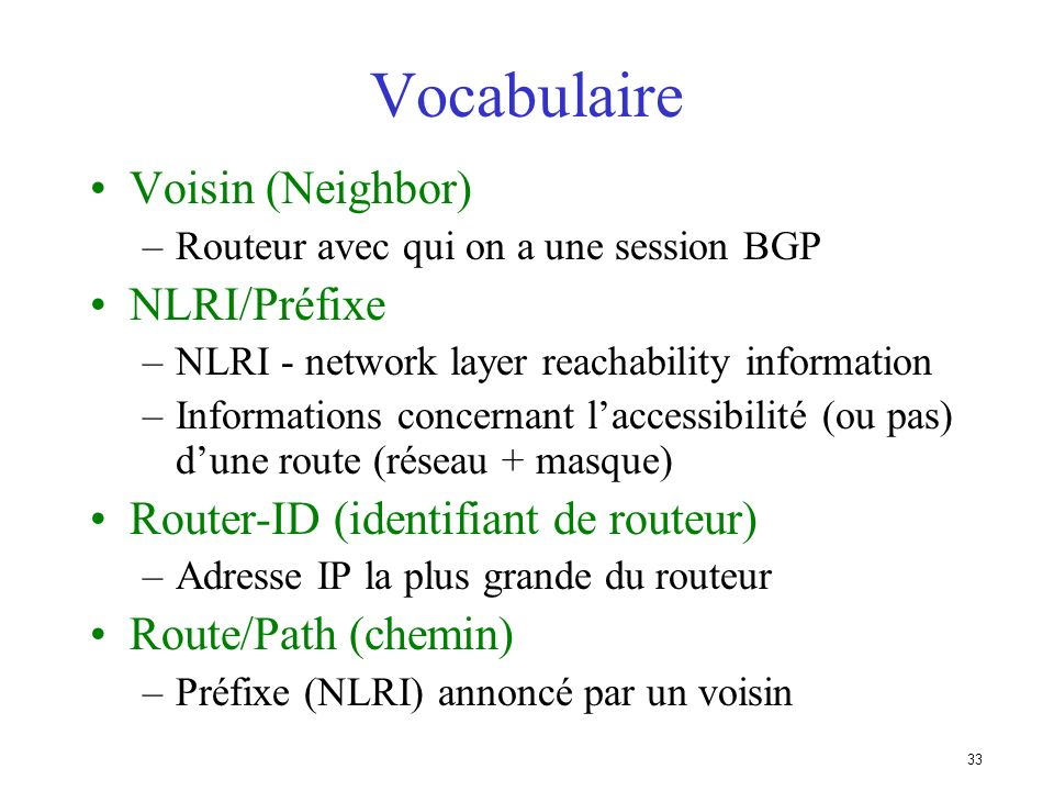 Vocabulaire Voisin (Neighbor) NLRI/Préfixe