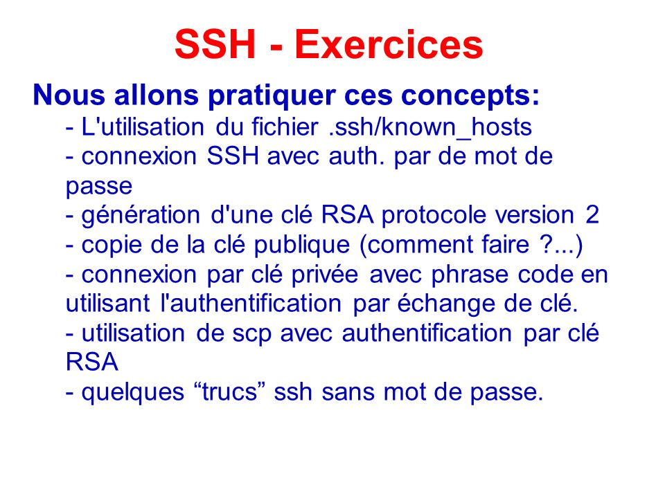 SSH - Exercices