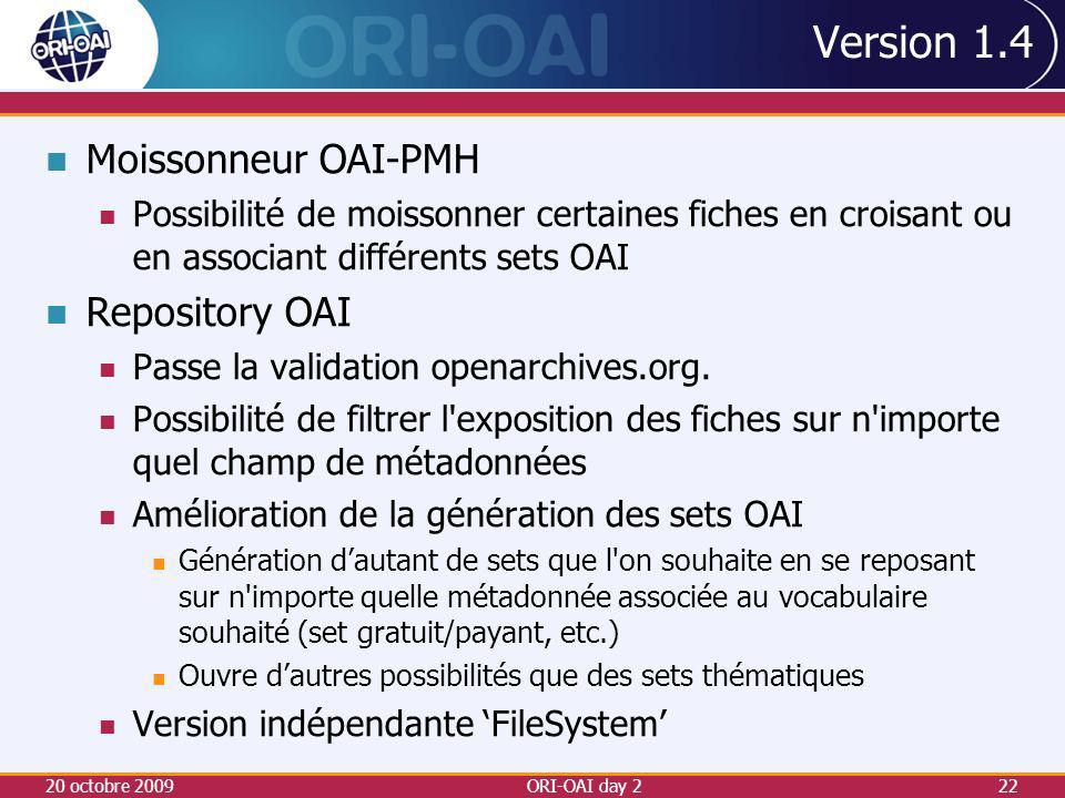 Version 1.4 Moissonneur OAI-PMH Repository OAI