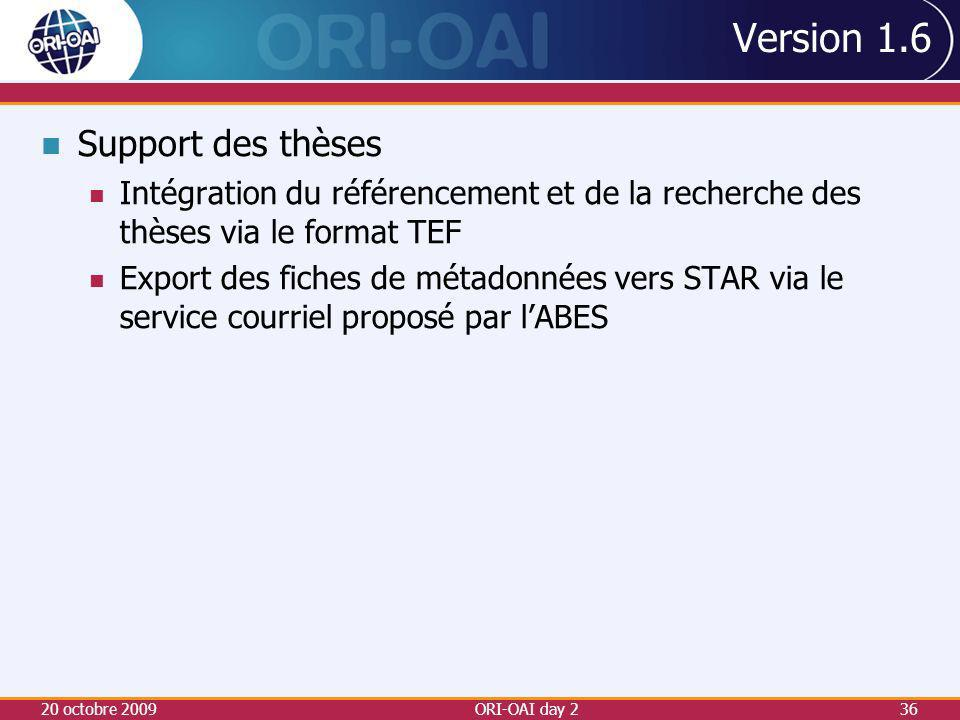 Version 1.6 Support des thèses