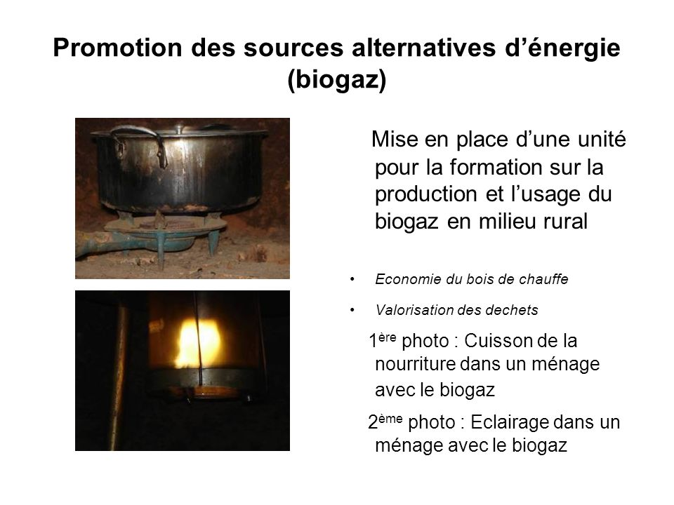 Promotion des sources alternatives d'énergie (biogaz)