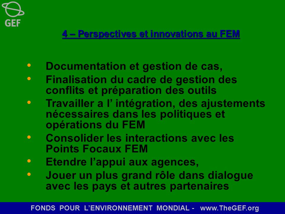4 – Perspectives et innovations au FEM
