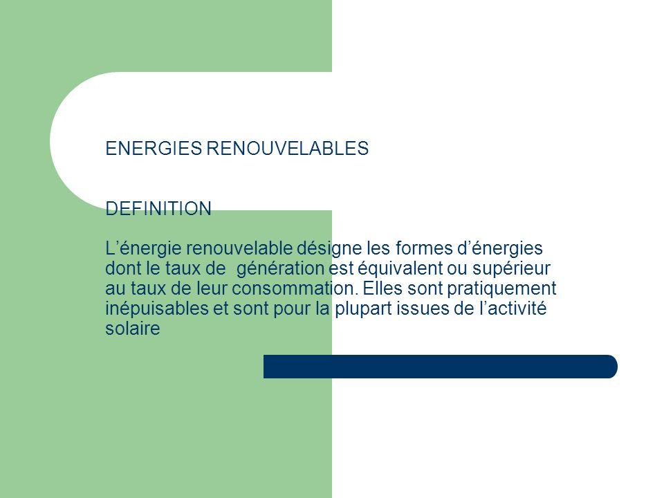energies renouvelables definition l nergie renouvelable d signe les formes d nergies dont le. Black Bedroom Furniture Sets. Home Design Ideas