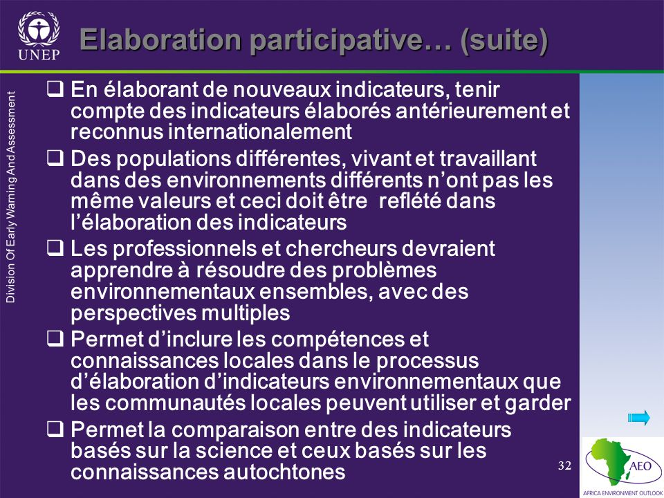 Elaboration participative… (suite)