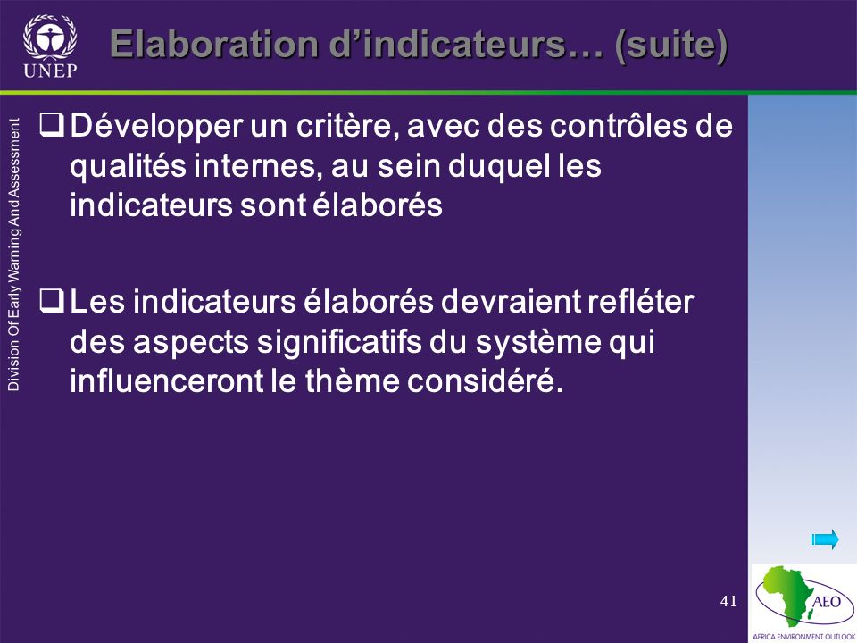 Elaboration d'indicateurs… (suite)
