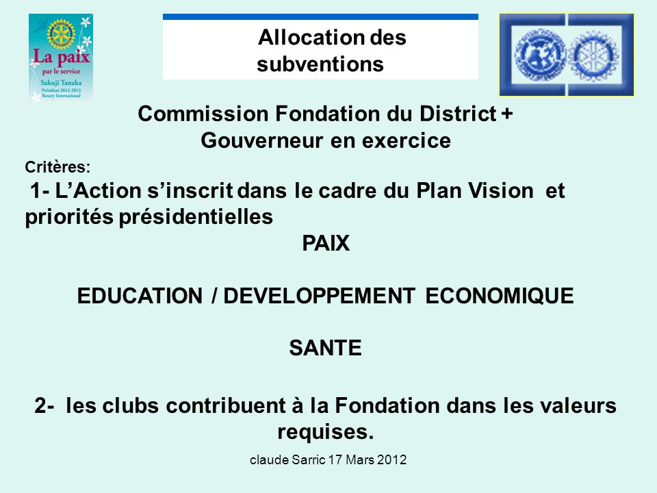 Allocation des subventions