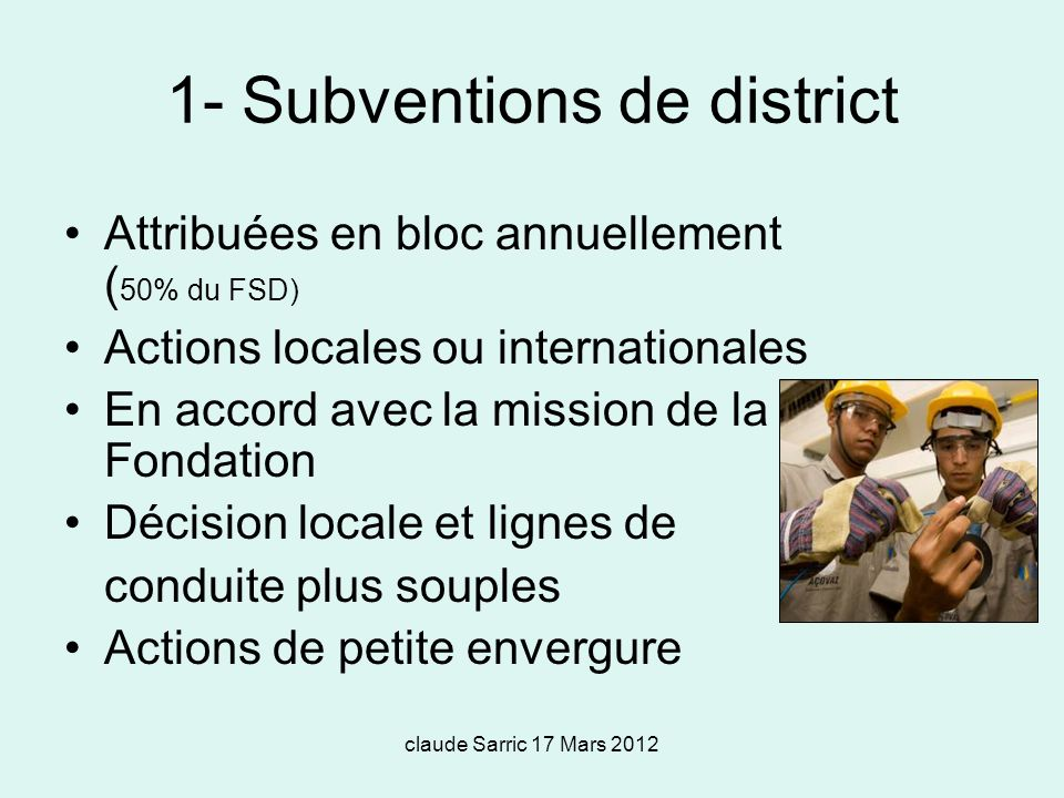1- Subventions de district