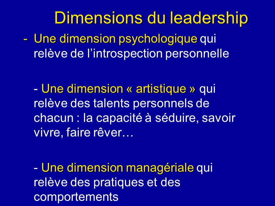 Dimensions du leadership