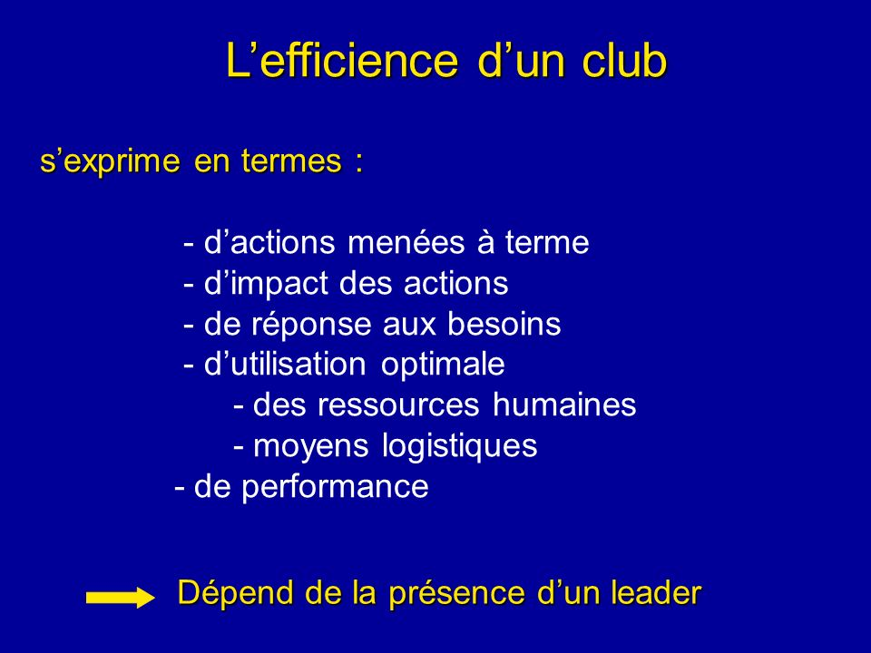 L'efficience d'un club