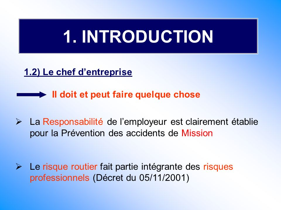 1. INTRODUCTION 1.2) Le chef d'entreprise