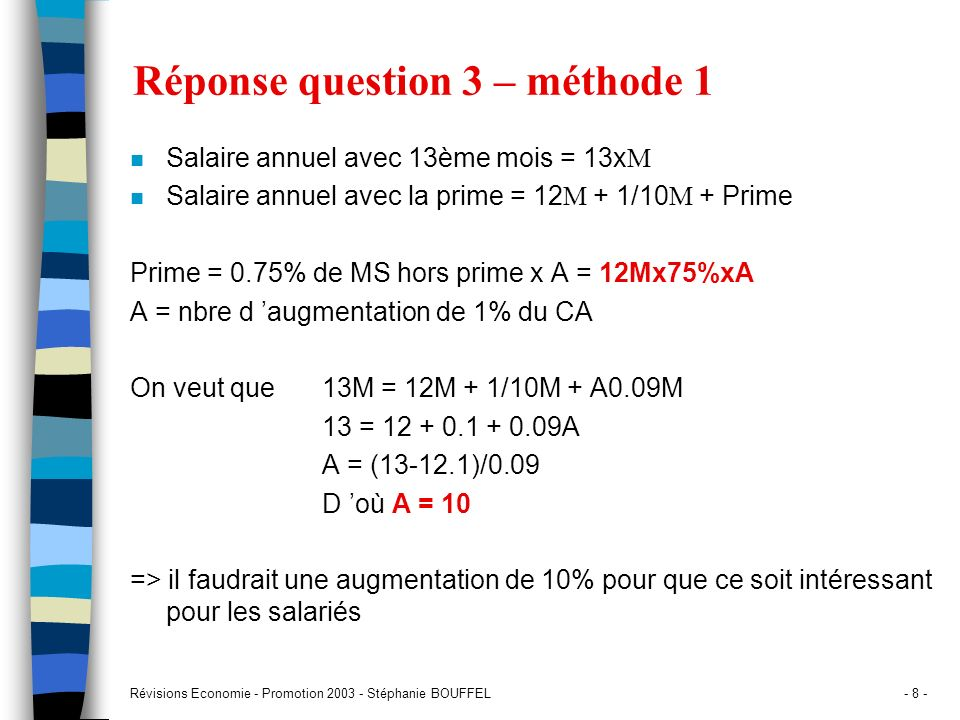 Réponse question 3 – méthode 1