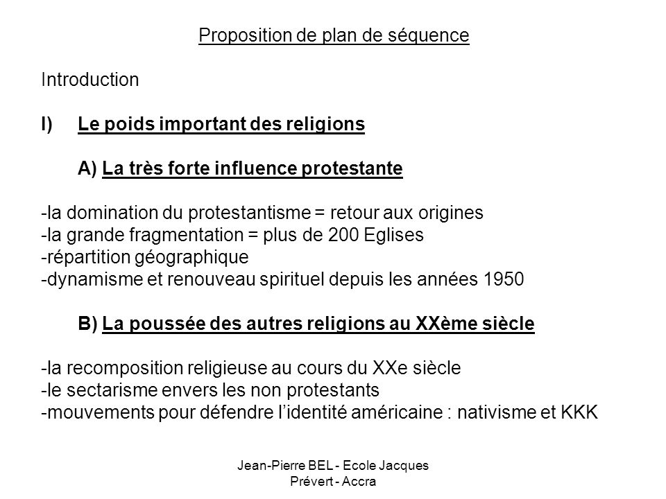 Proposition de plan de séquence Introduction