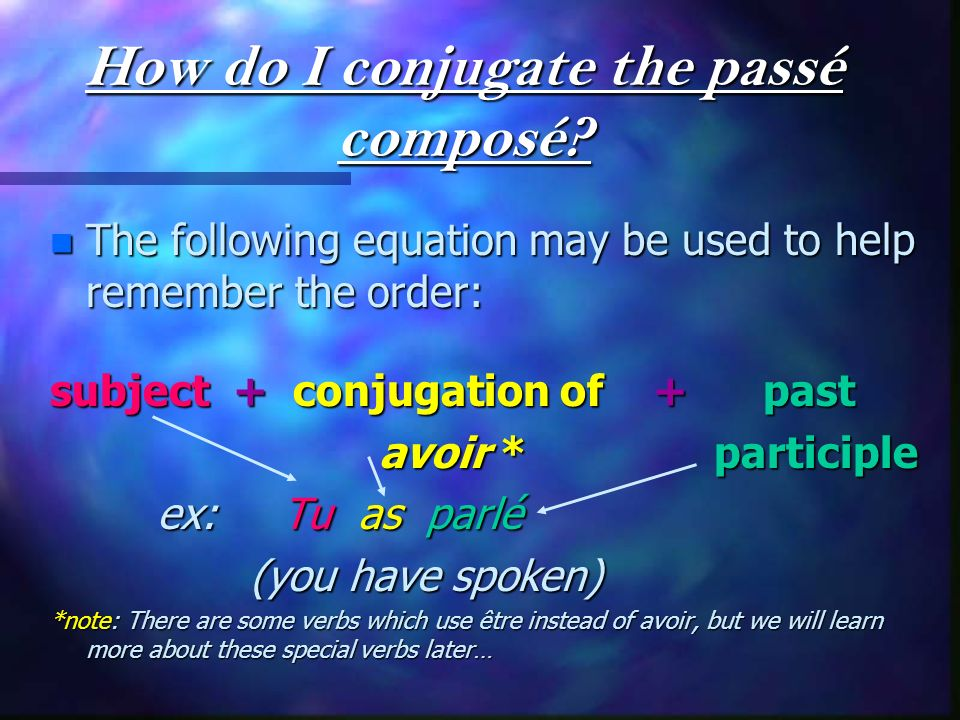 How do I conjugate the passé composé