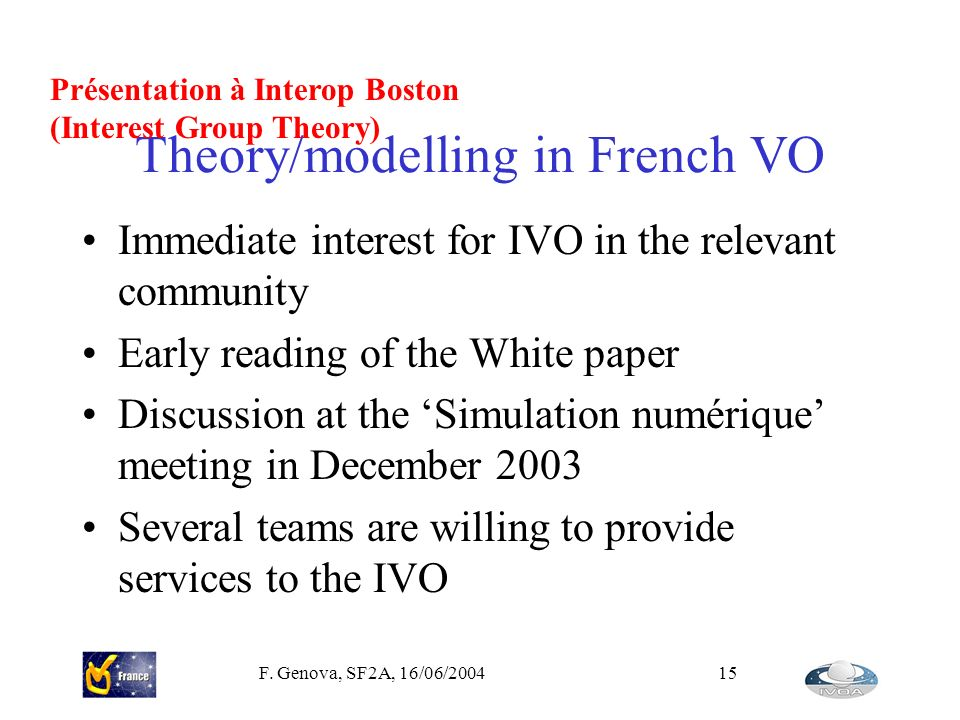 Theory/modelling in French VO