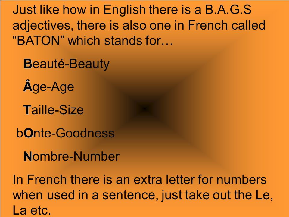 Just like how in English there is a B. A. G