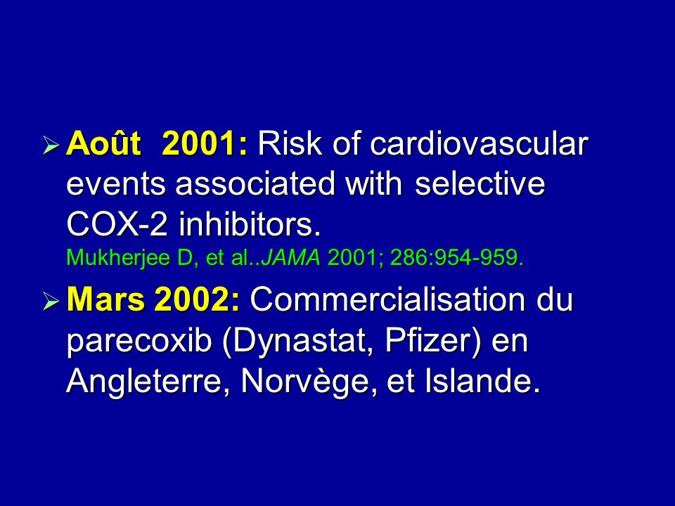 Août 2001: Risk of cardiovascular events associated with selective COX-2 inhibitors. Mukherjee D, et al..JAMA 2001; 286:954-959.