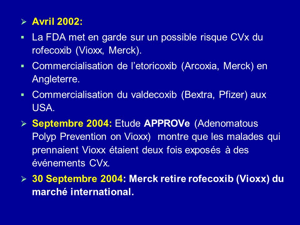 Avril 2002: La FDA met en garde sur un possible risque CVx du rofecoxib (Vioxx, Merck).
