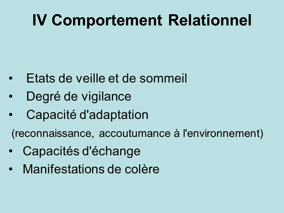 IV Comportement Relationnel