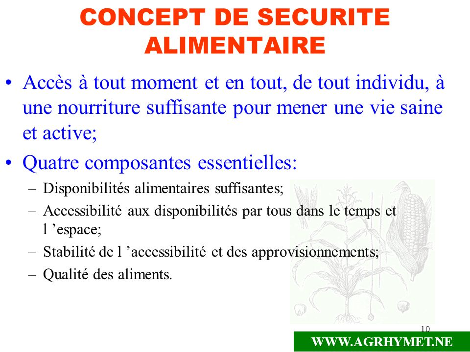 CONCEPT DE SECURITE ALIMENTAIRE