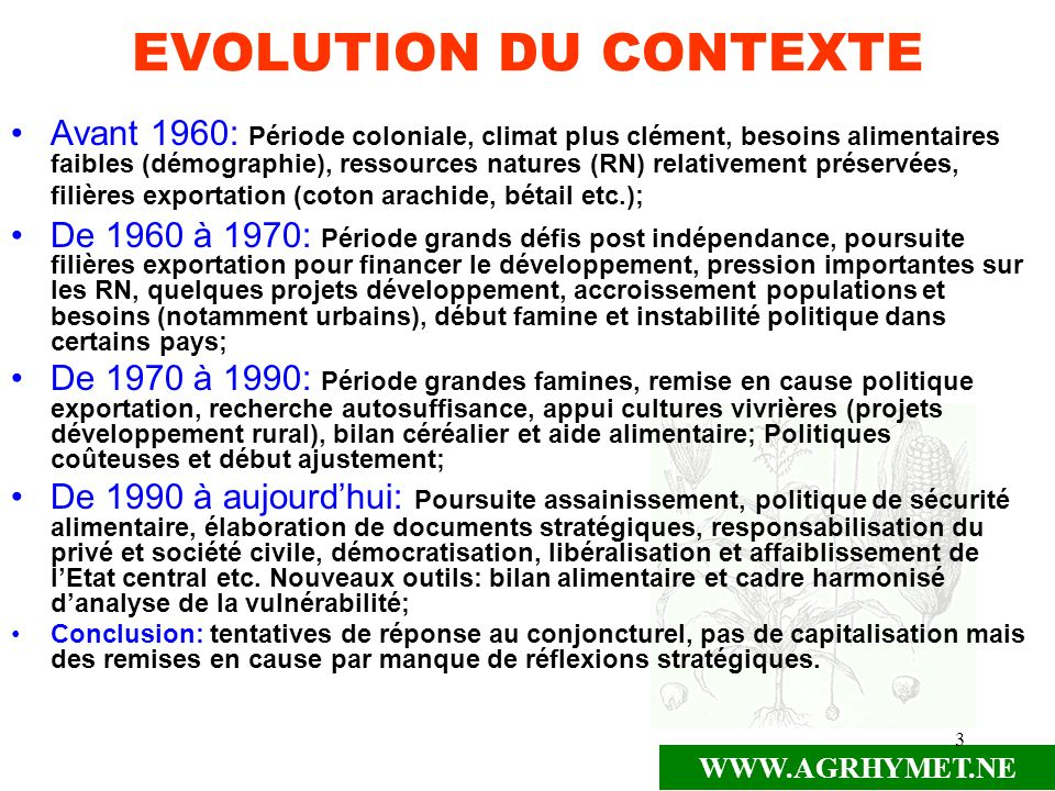 EVOLUTION DU CONTEXTE