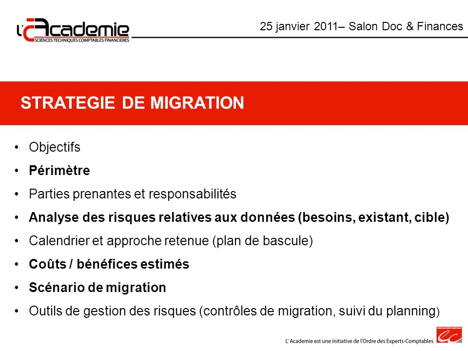 STRATEGIE DE MIGRATION