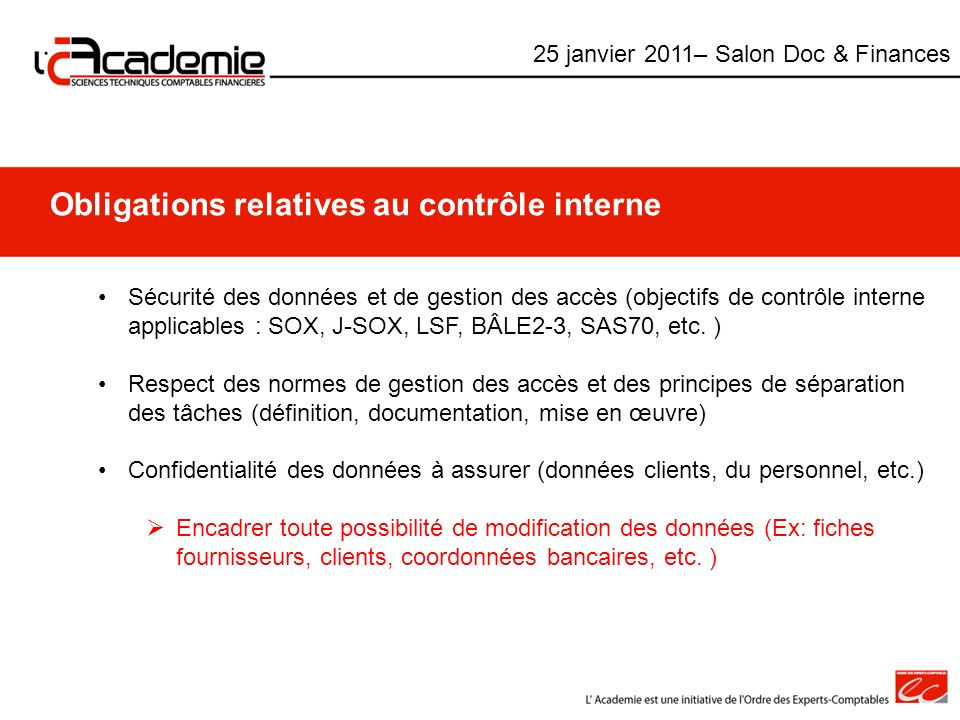 Obligations relatives au contrôle interne