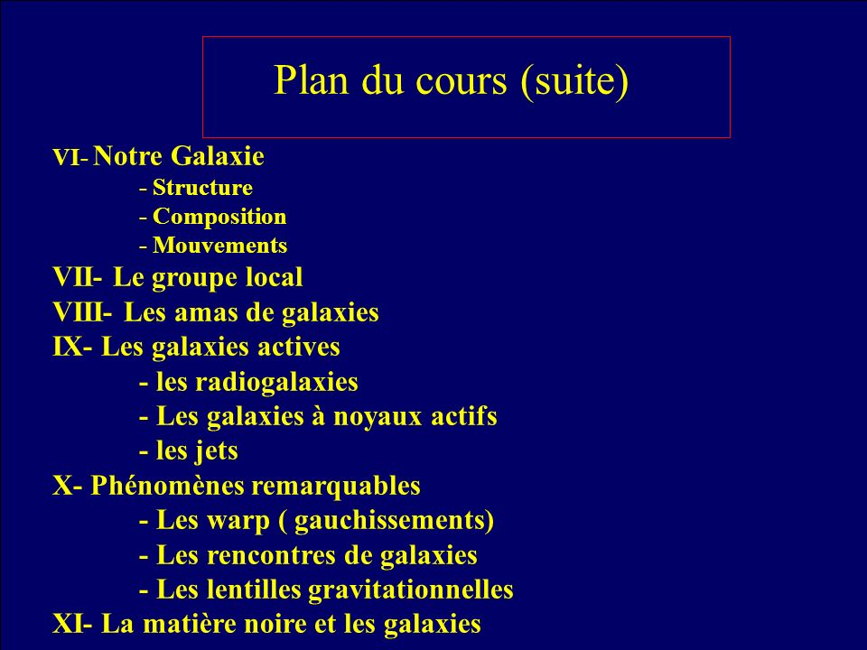 Plan du cours (suite) VII- Le groupe local VIII- Les amas de galaxies