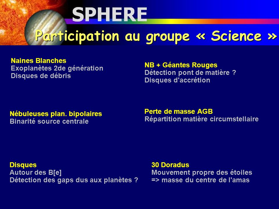 Participation au groupe « Science »