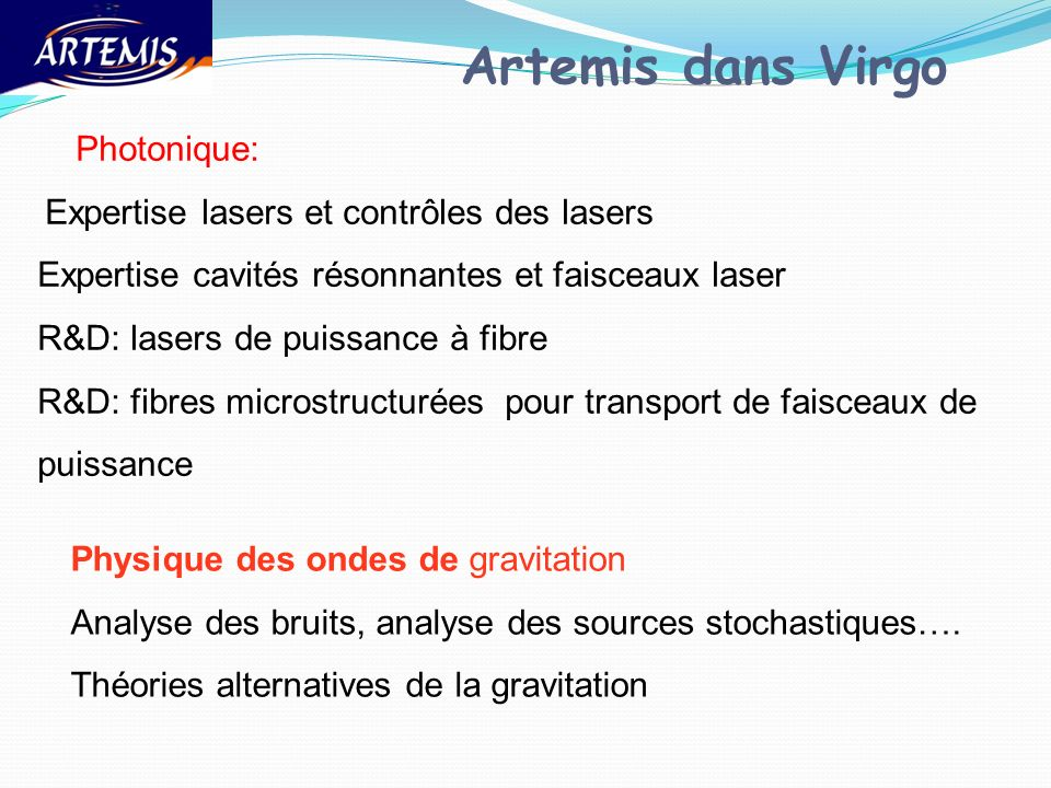 Artemis dans Virgo Photonique: